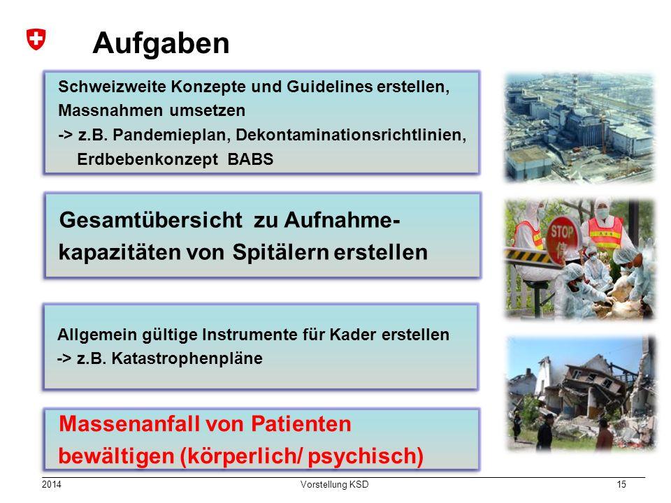 2014 Vorstellung KSD 15 Aufgaben Schweizweite Konzepte und Guidelines erstellen, Massnahmen umsetzen -> z.B. Pandemieplan, Dekontaminationsrichtlinien