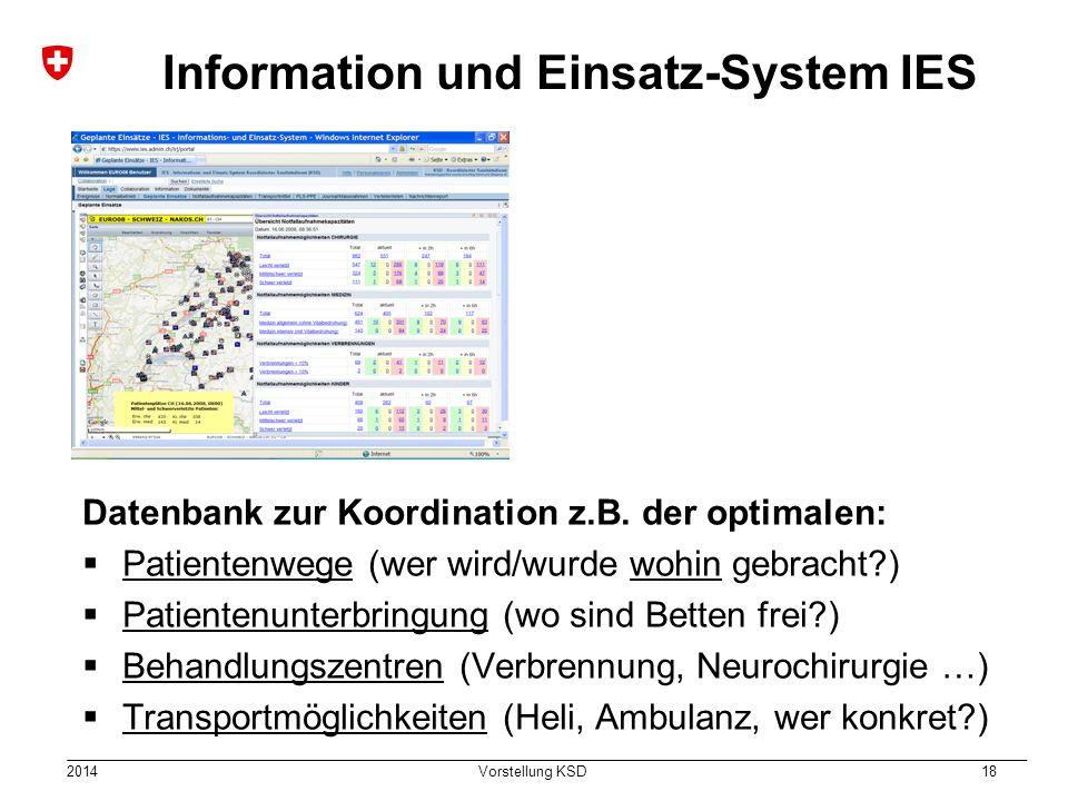 2014 Vorstellung KSD 18 Information und Einsatz-System IES Datenbank zur Koordination z.B. der optimalen:  Patientenwege (wer wird/wurde wohin gebrac