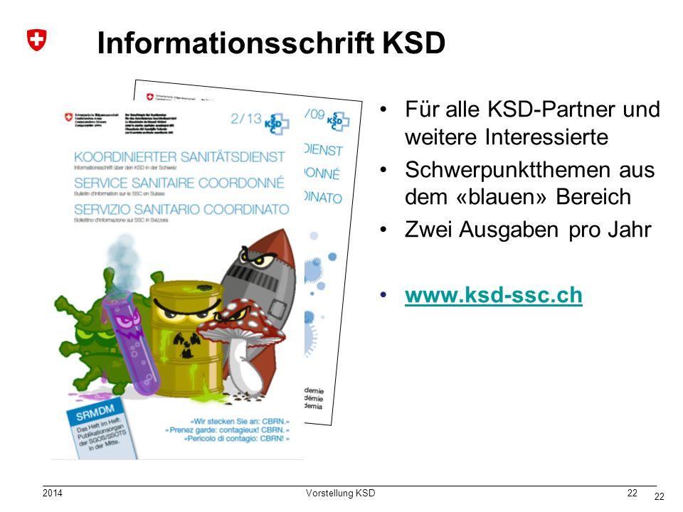 2014 Vorstellung KSD 22 Informationsschrift KSD Für alle KSD-Partner und weitere Interessierte Schwerpunktthemen aus dem «blauen» Bereich Zwei Ausgaben pro Jahr www.ksd-ssc.ch 22