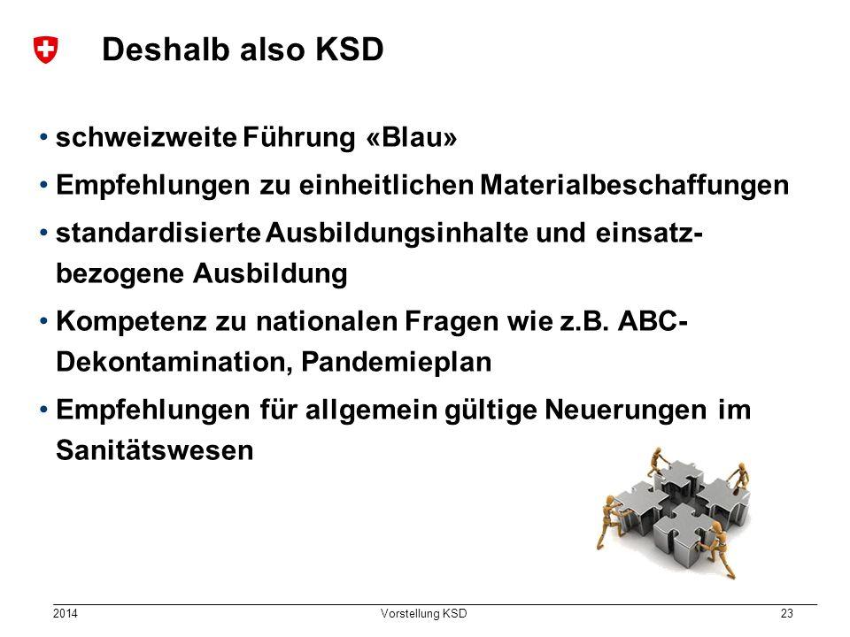 2014 Vorstellung KSD 23 Deshalb also KSD schweizweite Führung «Blau» Empfehlungen zu einheitlichen Materialbeschaffungen standardisierte Ausbildungsinhalte und einsatz- bezogene Ausbildung Kompetenz zu nationalen Fragen wie z.B.