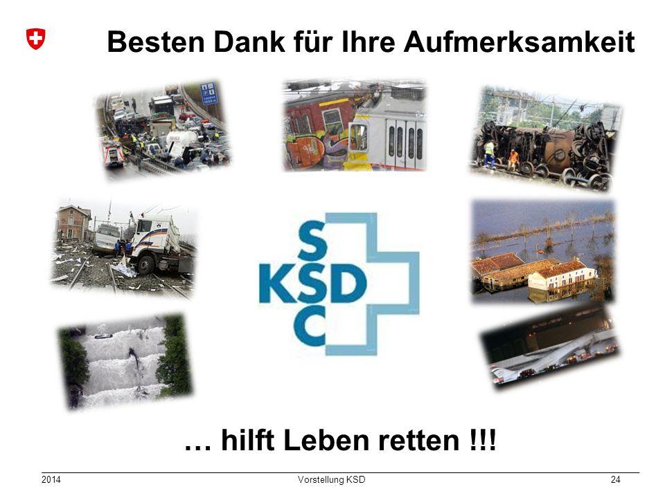 2014 Vorstellung KSD 24 Einsatz Besten Dank für Ihre Aufmerksamkeit … hilft Leben retten !!!
