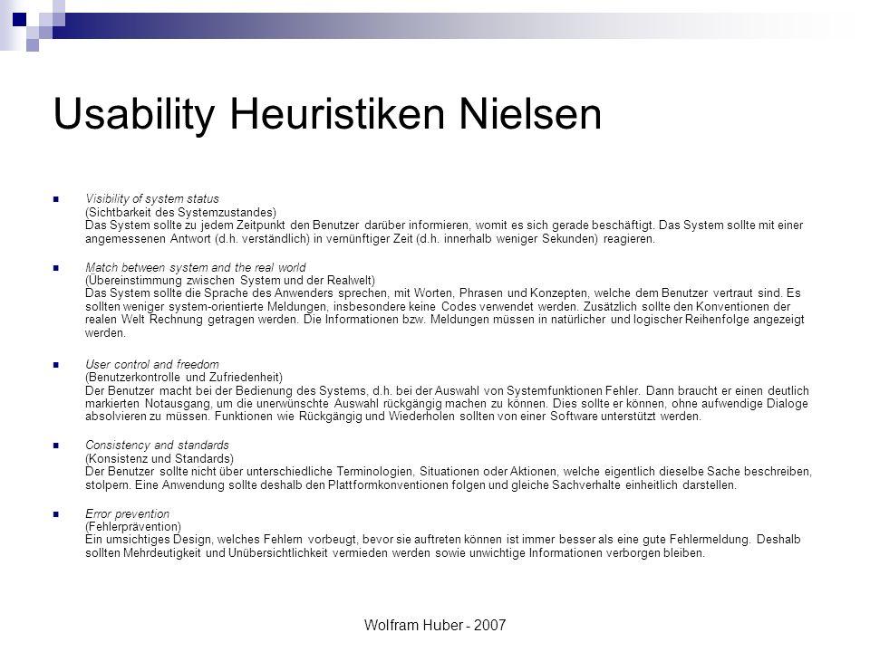 Wolfram Huber - 2007 Usability Heuristiken Nielsen Visibility of system status (Sichtbarkeit des Systemzustandes) Das System sollte zu jedem Zeitpunkt den Benutzer darüber informieren, womit es sich gerade beschäftigt.