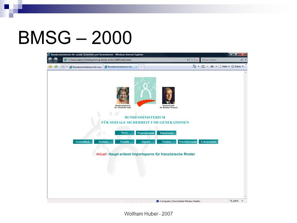 Wolfram Huber - 2007 BMSG – 2001 bis 2002