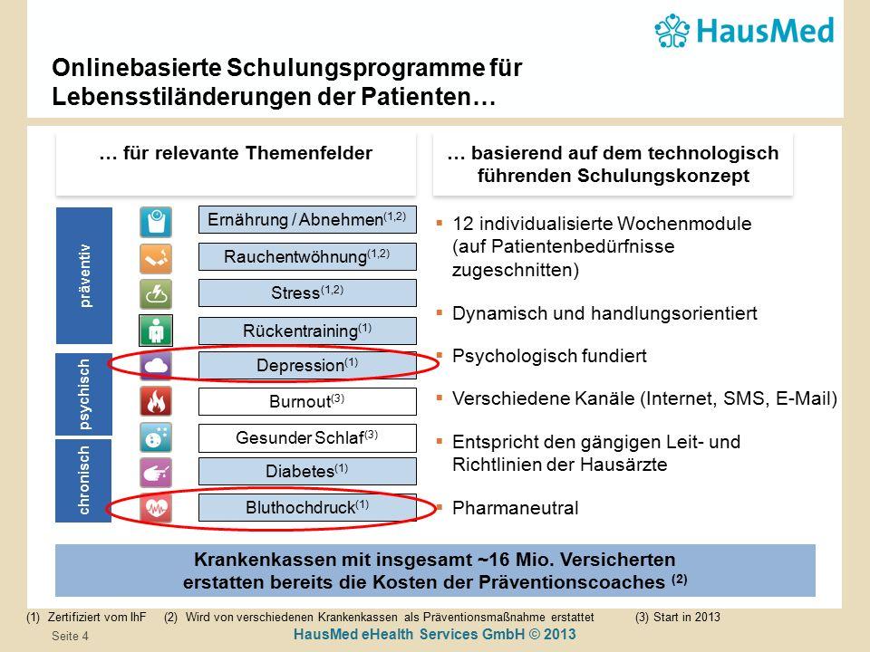 HausMed eHealth Services GmbH © 2013 Seite 4 Onlinebasierte Schulungsprogramme für Lebensstiländerungen der Patienten… (1)Zertifiziert vom IhF (2) Wird von verschiedenen Krankenkassen als Präventionsmaßnahme erstattet (3) Start in 2013 Krankenkassen mit insgesamt ~16 Mio.