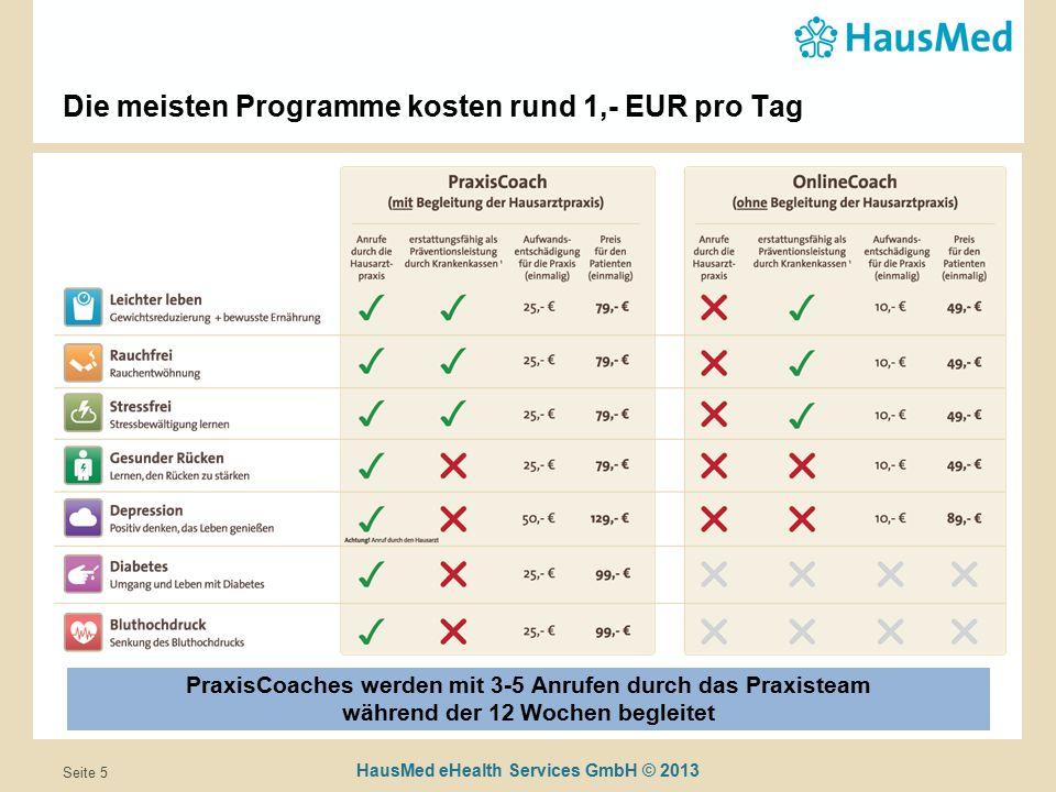 HausMed eHealth Services GmbH © 2013 Seite 5 Die meisten Programme kosten rund 1,- EUR pro Tag PraxisCoaches werden mit 3-5 Anrufen durch das Praxisteam während der 12 Wochen begleitet