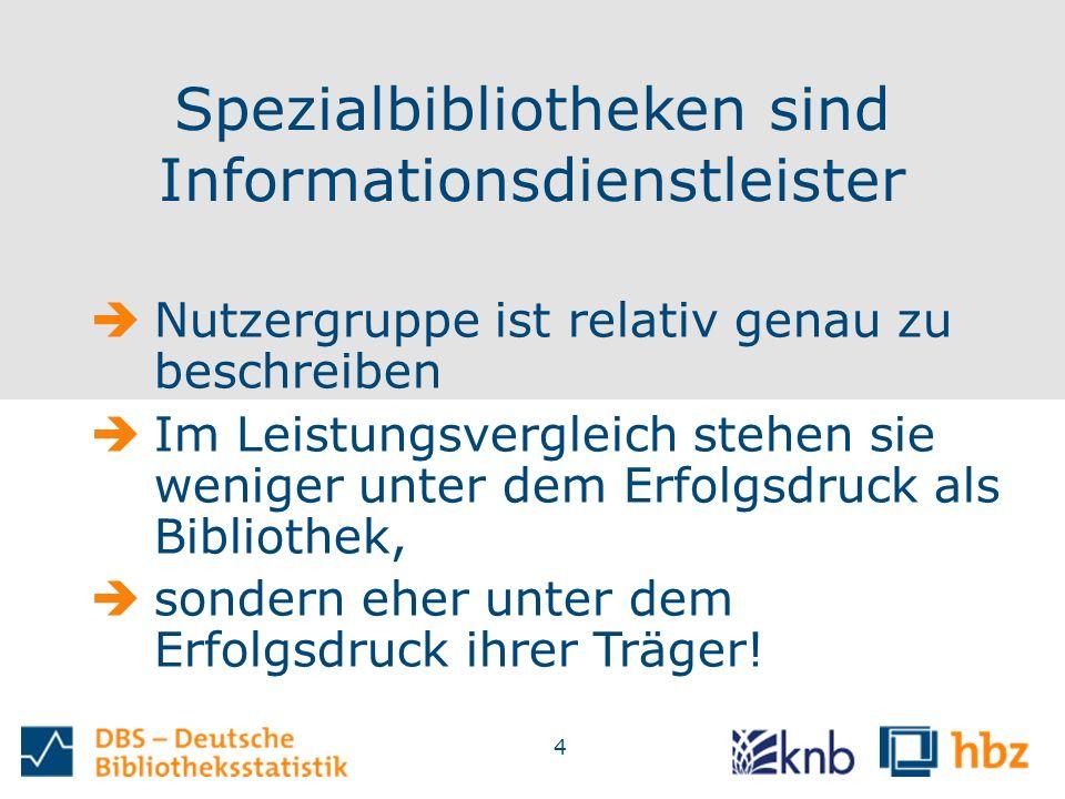 4 Spezialbibliotheken sind Informationsdienstleister  Nutzergruppe ist relativ genau zu beschreiben  Im Leistungsvergleich stehen sie weniger unter dem Erfolgsdruck als Bibliothek,  sondern eher unter dem Erfolgsdruck ihrer Träger!