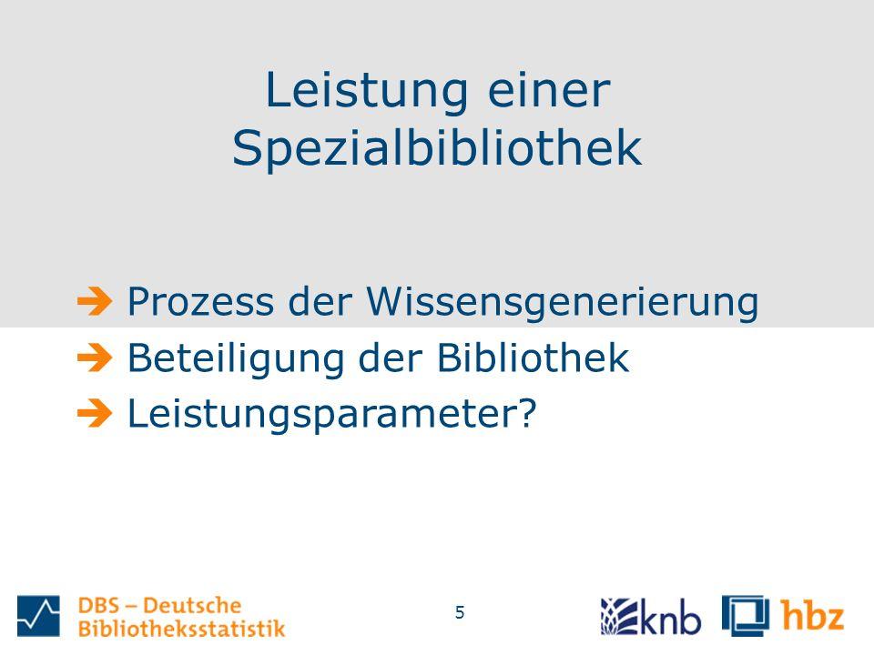 5 Leistung einer Spezialbibliothek  Prozess der Wissensgenerierung  Beteiligung der Bibliothek  Leistungsparameter?