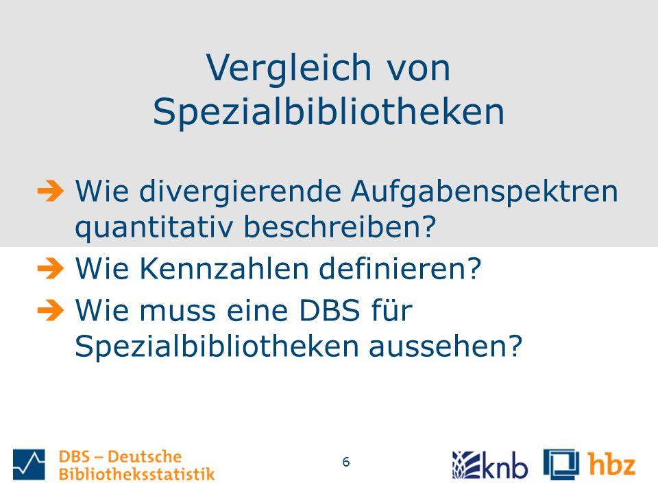6 Vergleich von Spezialbibliotheken  Wie divergierende Aufgabenspektren quantitativ beschreiben.