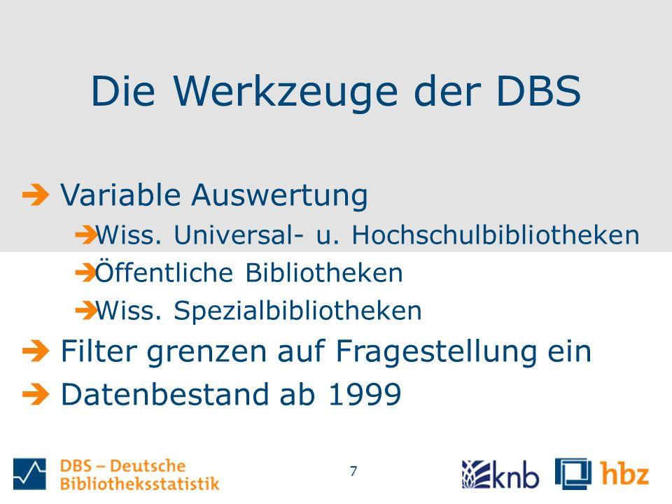 7 Die Werkzeuge der DBS  Variable Auswertung  Wiss.