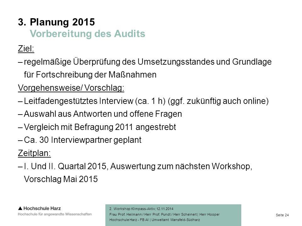 Seite 24 Hochschule Harz - FB AI | Umweltamt Mansfeld-Südharz Ziel: –regelmäßige Überprüfung des Umsetzungsstandes und Grundlage für Fortschreibung der Maßnahmen Vorgehensweise/ Vorschlag: –Leitfadengestütztes Interview (ca.