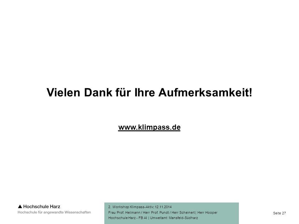 Seite 27 Hochschule Harz - FB AI | Umweltamt Mansfeld-Südharz Vielen Dank für Ihre Aufmerksamkeit.