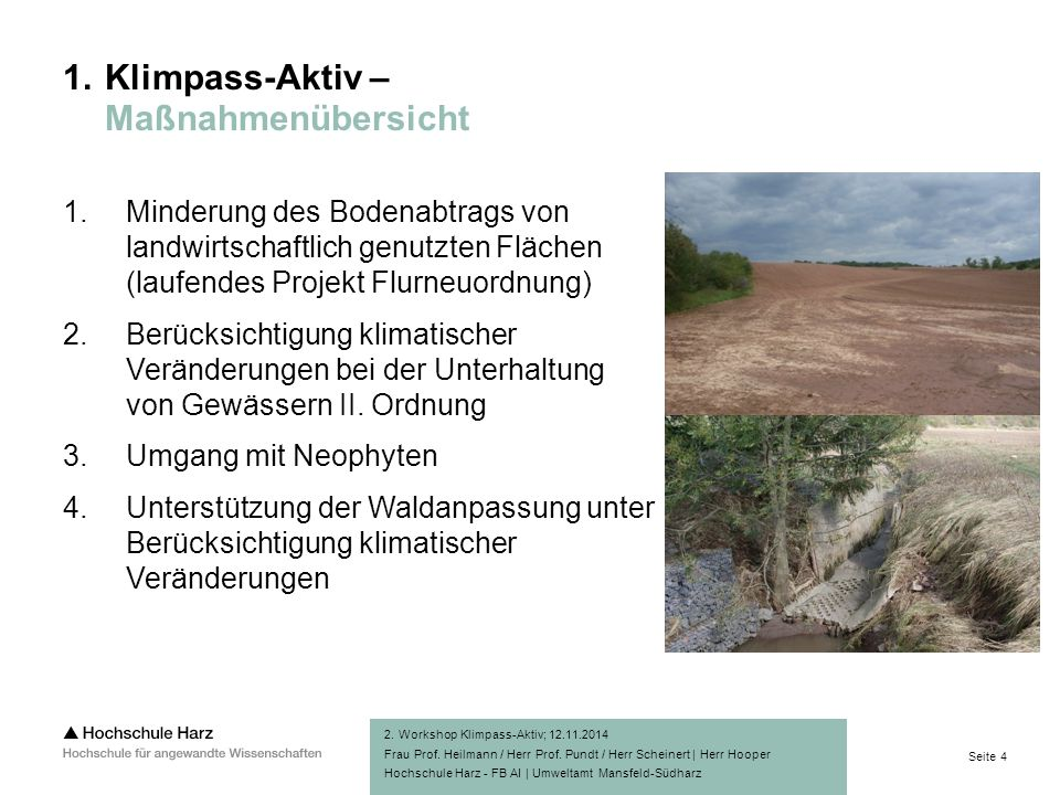 Seite 4 Hochschule Harz - FB AI | Umweltamt Mansfeld-Südharz 1.