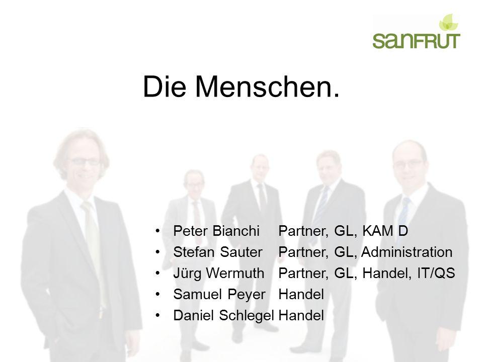 Die Menschen. Peter BianchiPartner, GL, KAM D Stefan SauterPartner, GL, Administration Jürg WermuthPartner, GL, Handel, IT/QS Samuel PeyerHandel Danie