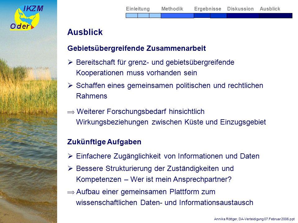 Annika Röttger, DA-Verteidigung 07.Februar 2006.ppt Zukünftige Aufgaben  Einfachere Zugänglichkeit von Informationen und Daten  Bessere Strukturierung der Zuständigkeiten und Kompetenzen – Wer ist mein Ansprechpartner.