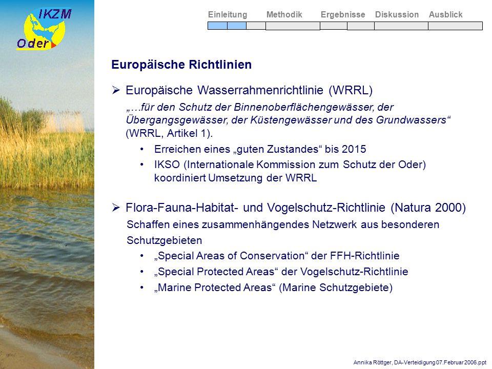 """Annika Röttger, DA-Verteidigung 07.Februar 2006.ppt Europäische Richtlinien  Europäische Wasserrahmenrichtlinie (WRRL) """"…für den Schutz der Binnenobe"""