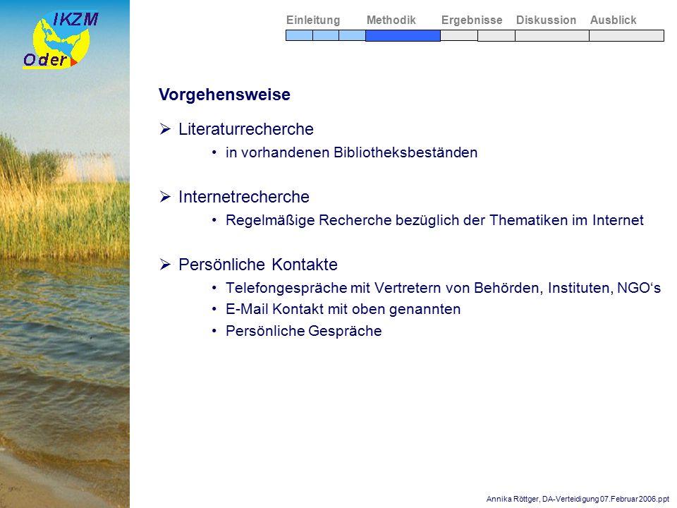 Annika Röttger, DA-Verteidigung 07.Februar 2006.ppt Zentrale Wirkungsbeziehungen zwischen Einzugsgebiet und Küste  Schifffahrt und wasserbauliche Maßnahmen  Hochwasserschutz  Neozoen und Artenwanderung Ergebnisse MethodikEinleitungAusblickDiskussion Einzugsgebiet Küste  Eutrophierung und Wasserqualität Nährstoffeinträge Eutrophierung Beeinträchtigung der Wasserqualität Auswirkungen auf Flora und Fauna Auswirkungen auf den Tourismus