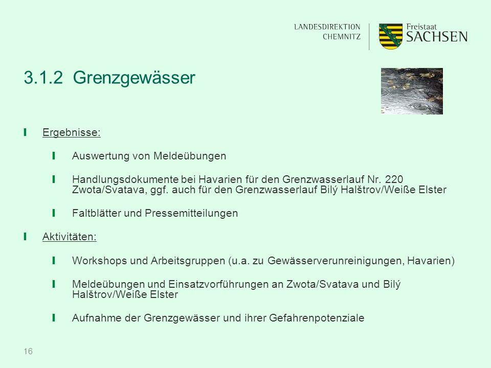 16 3.1.2 Grenzgewässer ❙ Ergebnisse: ❙ Auswertung von Meldeübungen ❙ Handlungsdokumente bei Havarien für den Grenzwasserlauf Nr.