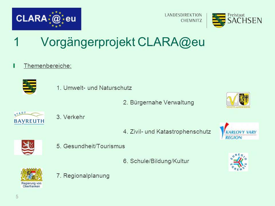 5 1Vorgängerprojekt CLARA@eu ❙ Themenbereiche: 1. Umwelt- und Naturschutz 2.