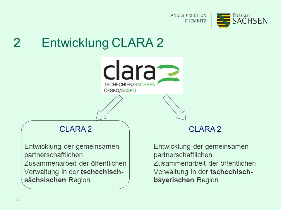 7 2 Entwicklung CLARA 2 CLARA 2 Entwicklung der gemeinsamen partnerschaftlichen Zusammenarbeit der öffentlichen Verwaltung in der tschechisch- sächsischen Region CLARA 2 Entwicklung der gemeinsamen partnerschaftlichen Zusammenarbeit der öffentlichen Verwaltung in der tschechisch- bayerischen Region