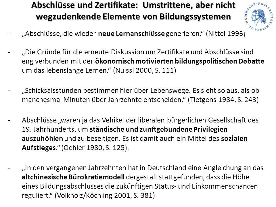"""Abschlüsse und Zertifikate: Umstrittene, aber nicht wegzudenkende Elemente von Bildungssystemen -""""Abschlüsse, die wieder neue Lernanschlüsse generieren. (Nittel 1996) -""""Die Gründe für die erneute Diskussion um Zertifikate und Abschlüsse sind eng verbunden mit der ökonomisch motivierten bildungspolitischen Debatte um das lebenslange Lernen. (Nuissl 2000, S."""