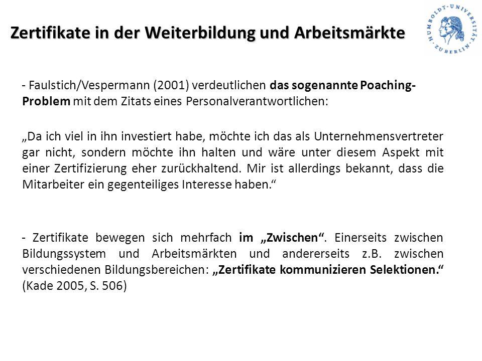 """Zertifikate in der Weiterbildung und Arbeitsmärkte - Faulstich/Vespermann (2001) verdeutlichen das sogenannte Poaching- Problem mit dem Zitats eines Personalverantwortlichen: """"Da ich viel in ihn investiert habe, möchte ich das als Unternehmensvertreter gar nicht, sondern möchte ihn halten und wäre unter diesem Aspekt mit einer Zertifizierung eher zurückhaltend."""