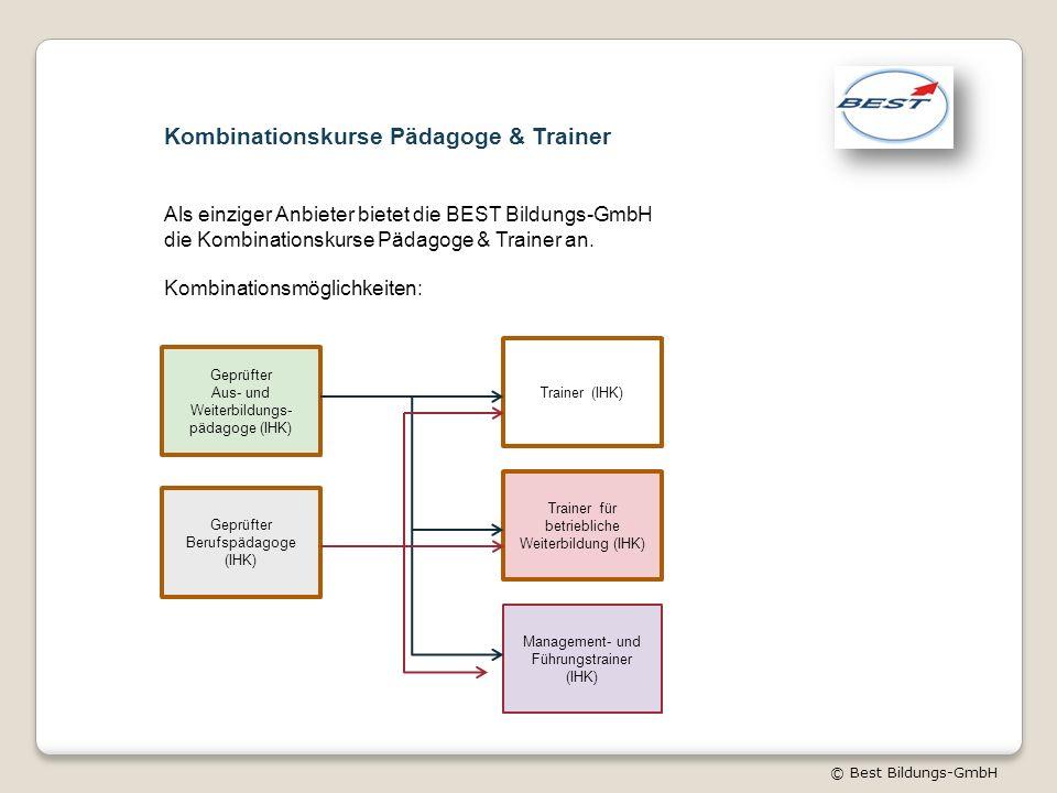 © Best Bildungs-GmbH Kombinationskurse Pädagoge & Trainer Als einziger Anbieter bietet die BEST Bildungs-GmbH die Kombinationskurse Pädagoge & Trainer an.