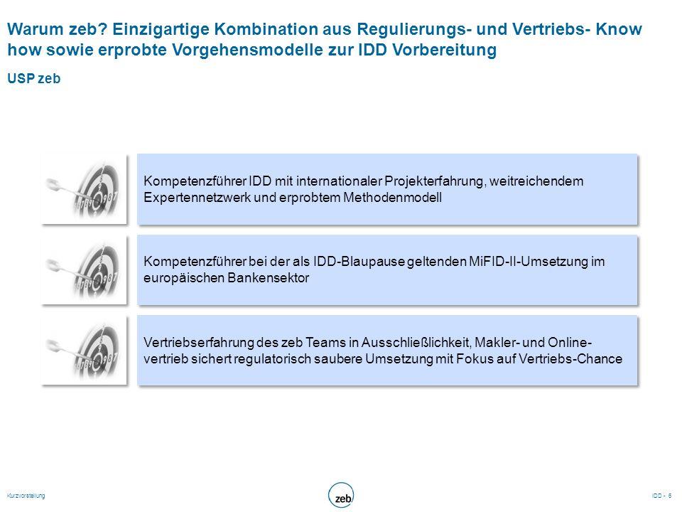 Warum zeb? Einzigartige Kombination aus Regulierungs- und Vertriebs- Know how sowie erprobte Vorgehensmodelle zur IDD Vorbereitung USP zeb Kompetenzfü