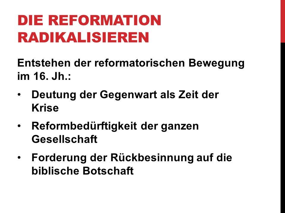 DIE REFORMATION RADIKALISIEREN Entstehen der reformatorischen Bewegung im 16. Jh.: Deutung der Gegenwart als Zeit der Krise Reformbedürftigkeit der ga