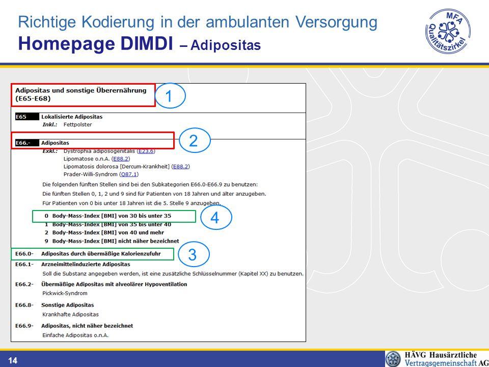 14 Richtige Kodierung in der ambulanten Versorgung Homepage DIMDI – Adipositas 2314