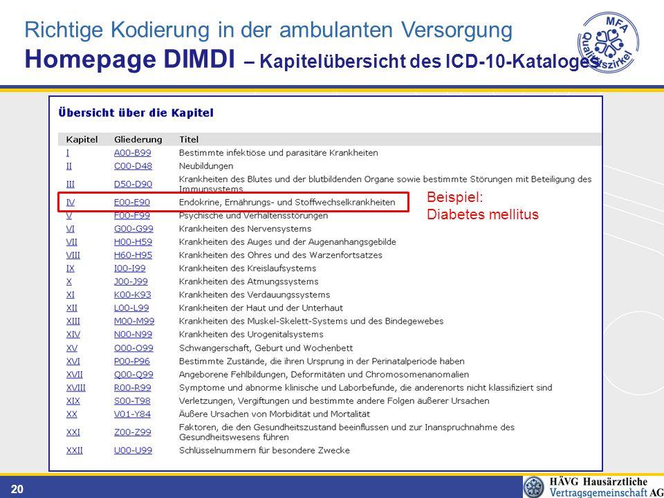 20 Richtige Kodierung in der ambulanten Versorgung Homepage DIMDI – Kapitelübersicht des ICD-10-Kataloges Beispiel: Diabetes mellitus