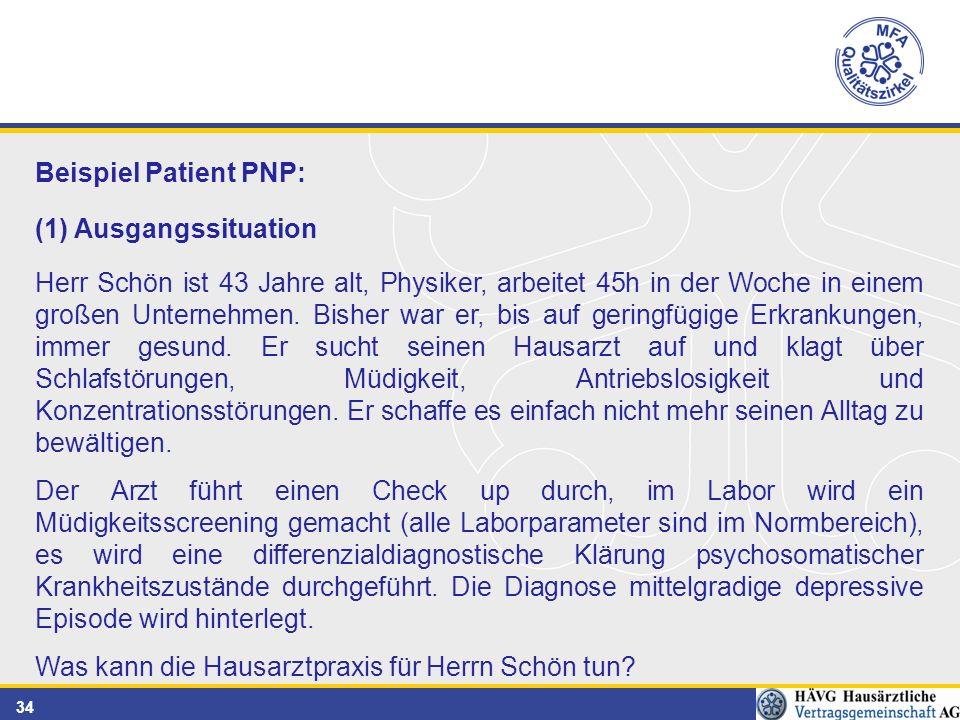 34 Beispiel Patient PNP: (1) Ausgangssituation Herr Schön ist 43 Jahre alt, Physiker, arbeitet 45h in der Woche in einem großen Unternehmen.