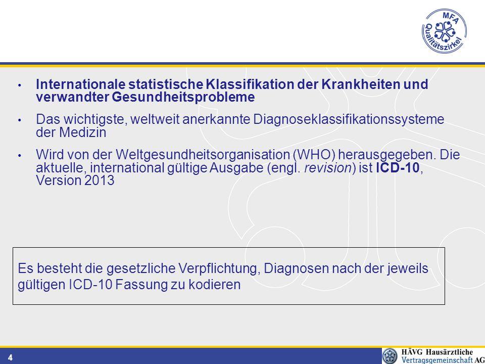 4 Internationale statistische Klassifikation der Krankheiten und verwandter Gesundheitsprobleme Das wichtigste, weltweit anerkannte Diagnoseklassifikationssysteme der Medizin Wird von der Weltgesundheitsorganisation (WHO) herausgegeben.