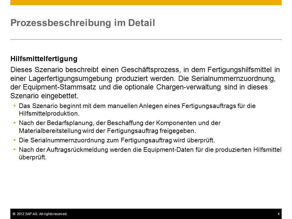 ©2012 SAP AG. All rights reserved.4 Prozessbeschreibung im Detail Hilfsmittelfertigung Dieses Szenario beschreibt einen Geschäftsprozess, in dem Ferti