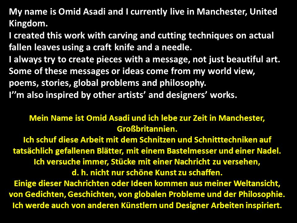 My name is Omid Asadi and I currently live in Manchester, United Kingdom.