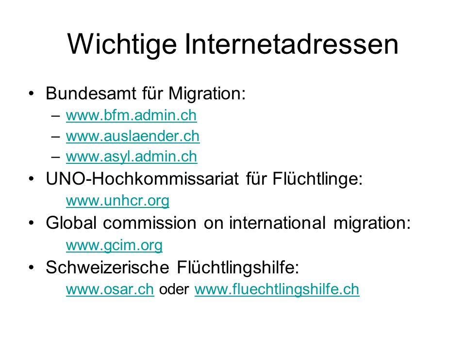 Wichtige Internetadressen Bundesamt für Migration: –www.bfm.admin.chwww.bfm.admin.ch –www.auslaender.chwww.auslaender.ch –www.asyl.admin.chwww.asyl.ad