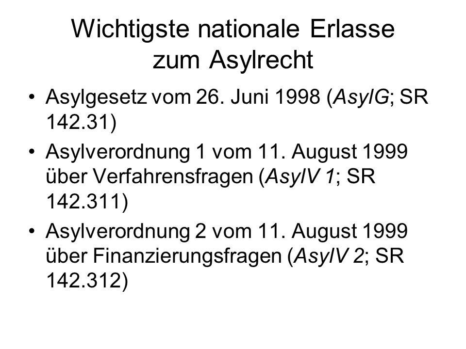 Wichtigste nationale Erlasse zum Asylrecht Asylgesetz vom 26. Juni 1998 (AsylG; SR 142.31) Asylverordnung 1 vom 11. August 1999 über Verfahrensfragen