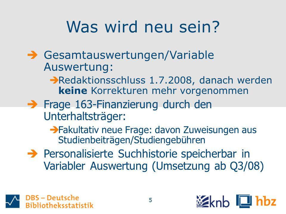 5 Was wird neu sein?  Gesamtauswertungen/Variable Auswertung:  Redaktionsschluss 1.7.2008, danach werden keine Korrekturen mehr vorgenommen  Frage