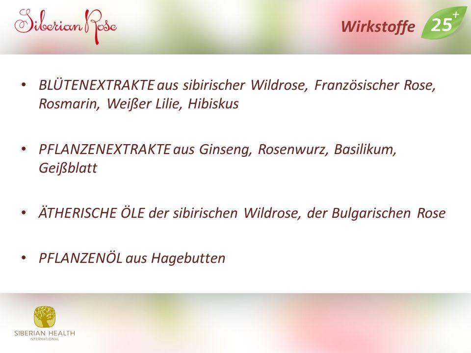 Wirkstoffe BLÜTENEXTRAKTE aus sibirischer Wildrose, Französischer Rose, Rosmarin, Weißer Lilie, Hibiskus PFLANZENEXTRAKTE aus Ginseng, Rosenwurz, Basilikum, Geißblatt ÄTHERISCHE ÖLE der sibirischen Wildrose, der Bulgarischen Rose PFLANZENÖL aus Hagebutten