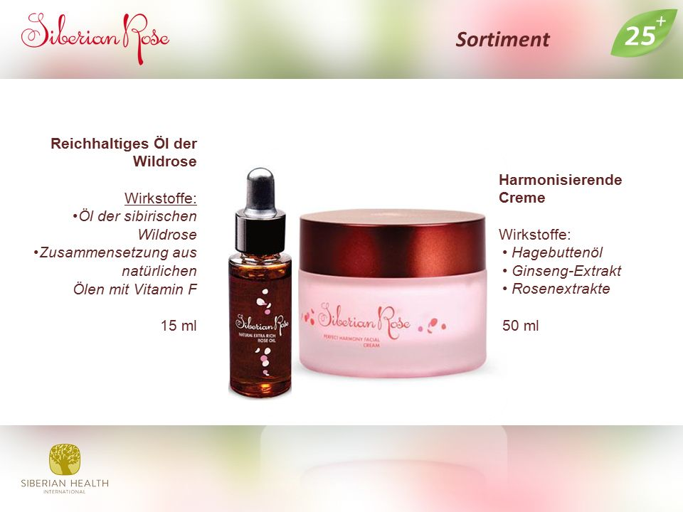 Sortiment Harmonisierende Creme Wirkstoffe: Hagebuttenöl Ginseng-Extrakt Rosenextrakte 50 ml Reichhaltiges Öl der Wildrose Wirkstoffe: Öl der sibirisc