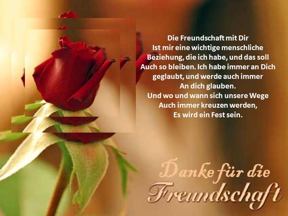 Freundschaft leben Es ist wunderbar, dass wir Freunde sind Und immer enger zusammenwachsen.