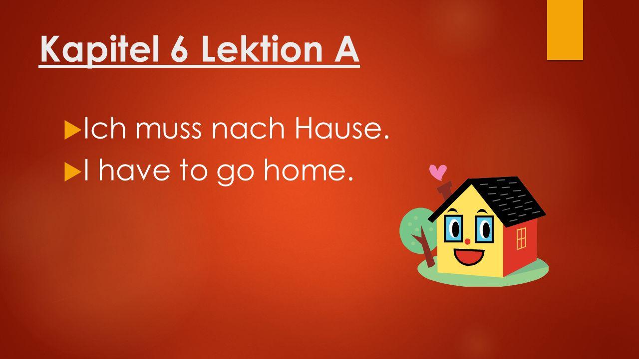 Kapitel 6 Lektion A  Ich muss nach Hause.  I have to go home.
