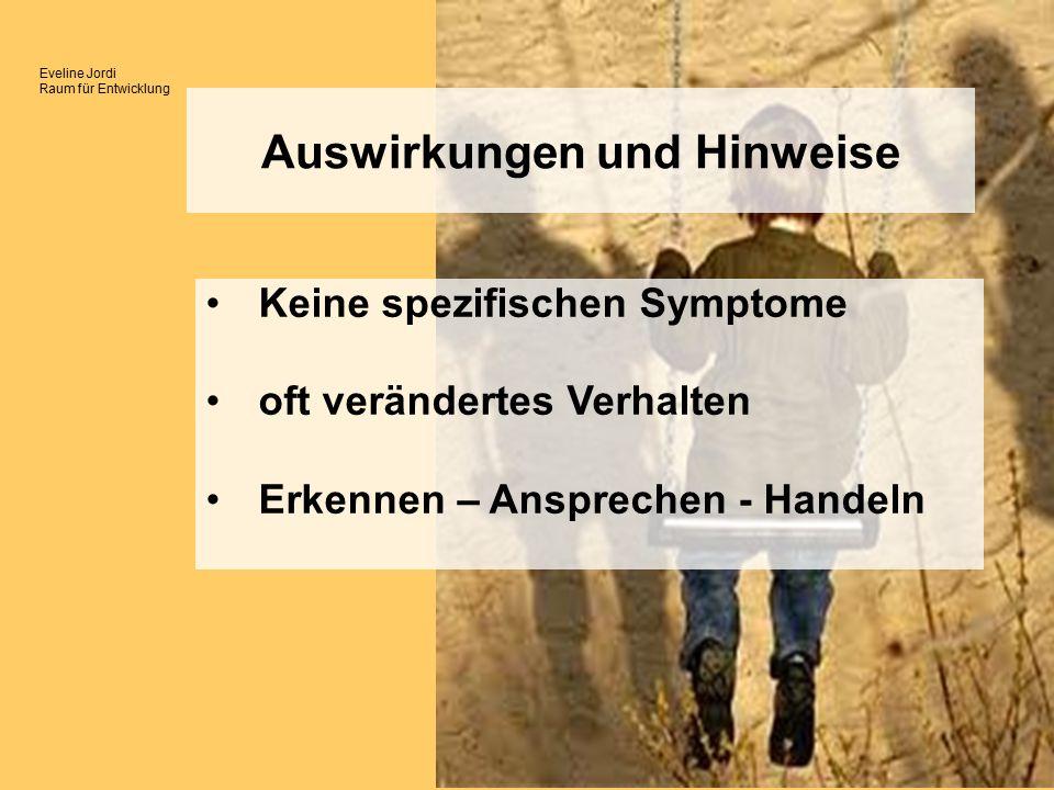 Eveline Jordi Raum für Entwicklung Keine spezifischen Symptome oft verändertes Verhalten Erkennen – Ansprechen - Handeln Auswirkungen und Hinweise
