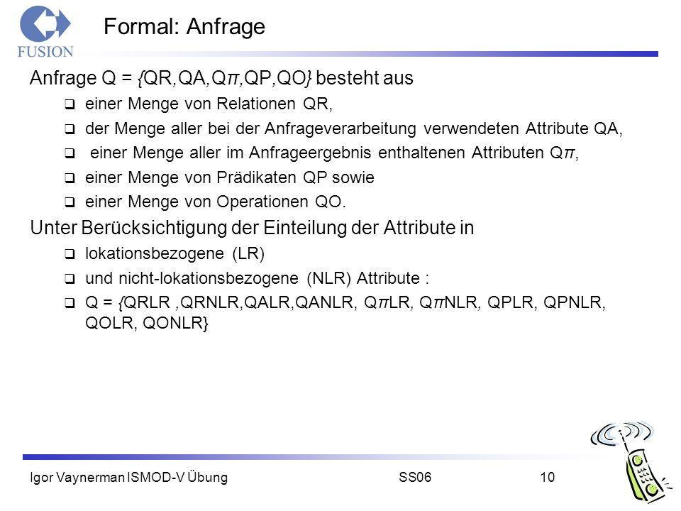 Igor Vaynerman ISMOD-V ÜbungSS0610 Formal: Anfrage Anfrage Q = {QR,QA,Qπ,QP,QO} besteht aus  einer Menge von Relationen QR,  der Menge aller bei der Anfrageverarbeitung verwendeten Attribute QA,  einer Menge aller im Anfrageergebnis enthaltenen Attributen Qπ,  einer Menge von Prädikaten QP sowie  einer Menge von Operationen QO.