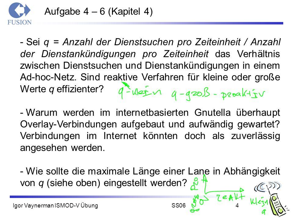 Igor Vaynerman ISMOD-V ÜbungSS064 Aufgabe 4 – 6 (Kapitel 4) - Sei q = Anzahl der Dienstsuchen pro Zeiteinheit / Anzahl der Dienstankündigungen pro Zei