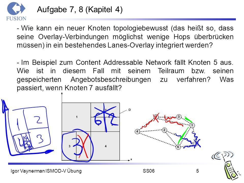 Igor Vaynerman ISMOD-V ÜbungSS065 Aufgabe 7, 8 (Kapitel 4) - Wie kann ein neuer Knoten topologiebewusst (das heißt so, dass seine Overlay-Verbindungen möglichst wenige Hops überbrücken müssen) in ein bestehendes Lanes-Overlay integriert werden.