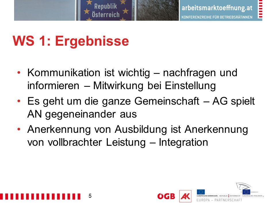 5 WS 1: Ergebnisse Kommunikation ist wichtig – nachfragen und informieren – Mitwirkung bei Einstellung Es geht um die ganze Gemeinschaft – AG spielt AN gegeneinander aus Anerkennung von Ausbildung ist Anerkennung von vollbrachter Leistung – Integration