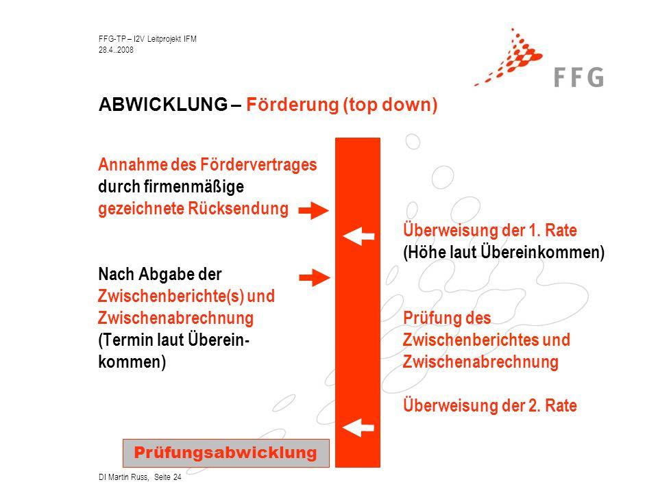 FFG-TP – I2V Leitprojekt IFM 28.4..2008 DI Martin Russ, Seite 24 ABWICKLUNG – Förderung (top down) Annahme des Fördervertrages durch firmenmäßige gezeichnete Rücksendung Überweisung der 1.