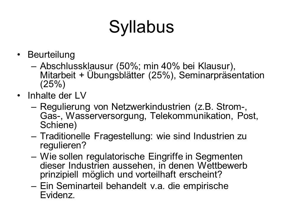 Syllabus Beurteilung –Abschlussklausur (50%; min 40% bei Klausur), Mitarbeit + Übungsblätter (25%), Seminarpräsentation (25%) Inhalte der LV –Regulierung von Netzwerkindustrien (z.B.