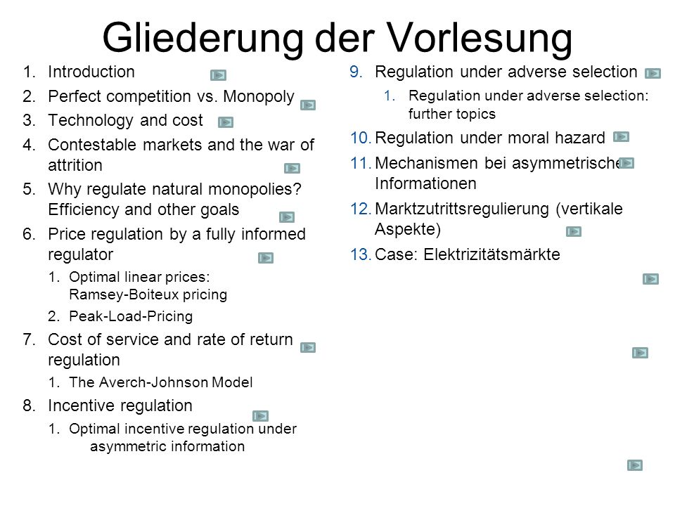 Syllabus Literatur: Paul Joskow: Regulation of Natural Monopolies August 2006, mimeo, MIT, erschienen im Handbook of Law and Economics, 2007Regulation of Natural Monopolies K.