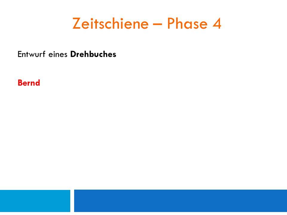 Zeitschiene – Phase 4 Entwurf eines Drehbuches Bernd